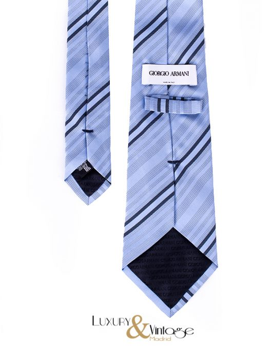 Giorgio Armani Neck Tie Blue Stripes Print