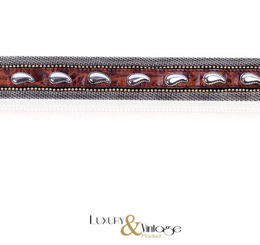 "Manni Italy Leather belt with silver ""cowboy style"""