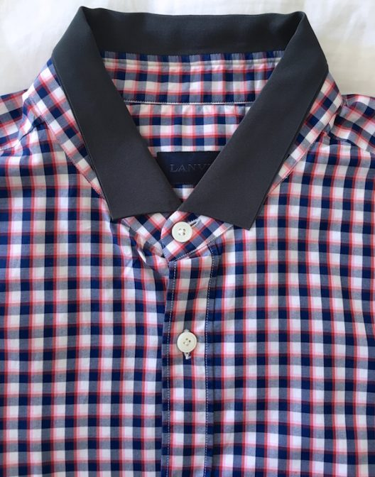 Lanvin Grosgrain-Collar Checked Shirt