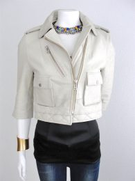 RARE ZADIG & VOLTAIRE Off-white Goat's Leather biker jacket