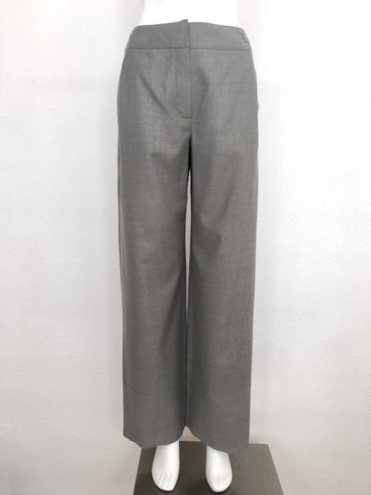 "Chanel Wool-Silk Gray Pants ""Chanel"" logo"