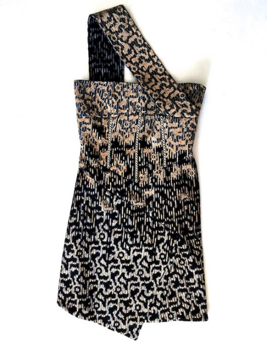 Alvarno Evening Mini Dress Hand Painted Print