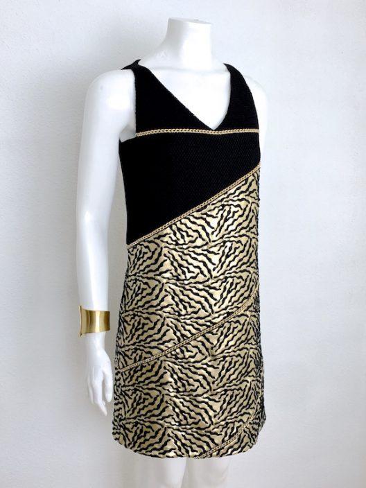 Alvarno Black Gold Evening Mini Dress