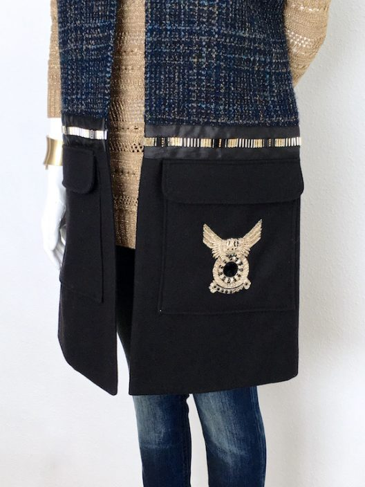 Alvarno Oversize Tweed-Wool Long Vest with Swarovski Crystals Details