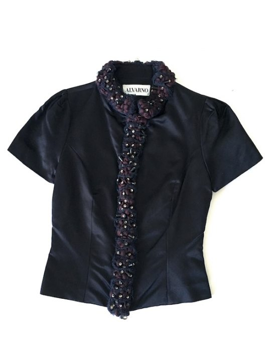 Alvarno Silk Top With Couture Details - Unique Pieces Collection