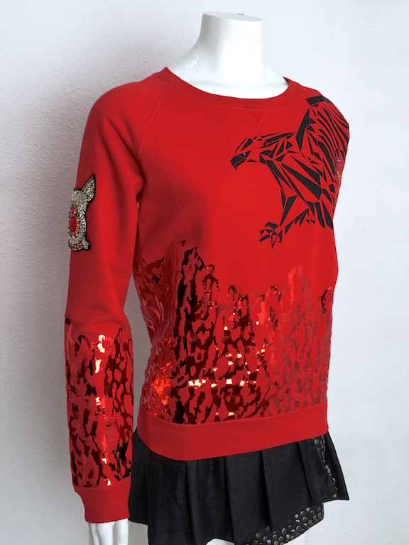Alvarno Sweater Metallic Print and Swarovski Crystals - Unique Pieces Collection