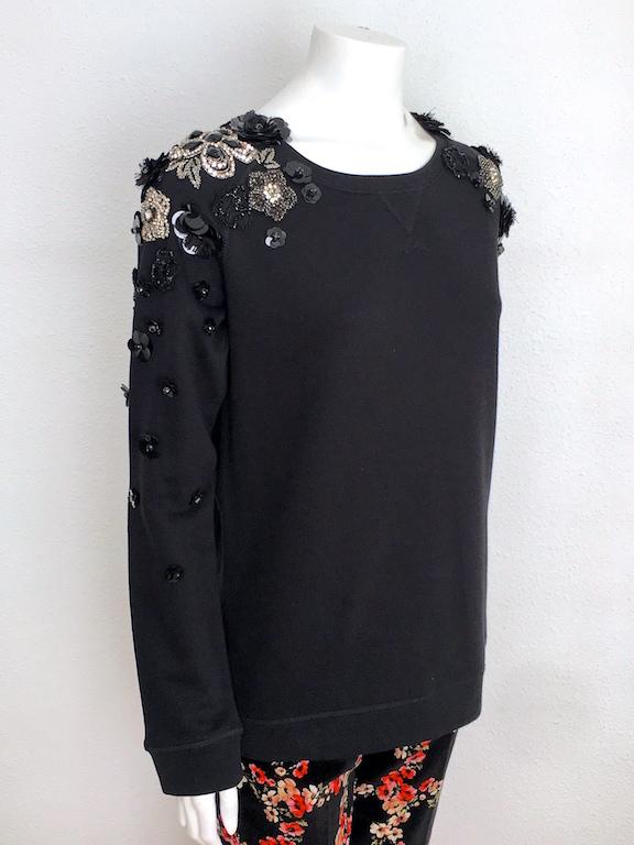Alvarno Black Sweater with Swarovski Crystals Flowers - Unique Pieces Collection