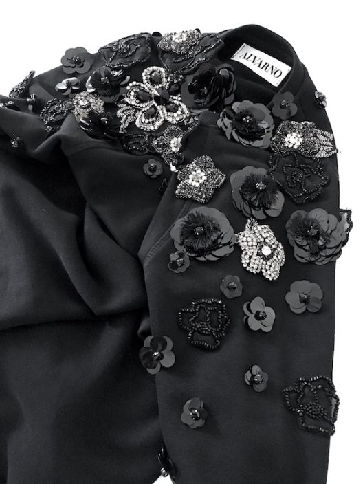 Alvarno Black Sweater with Swarovski Crystals Flowers - Unique Pieces Collection
