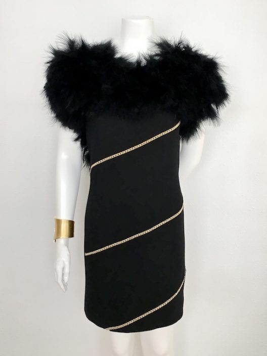 Alvarno Evening Black Dress With Marabou Feathers - Unique Pieces Collection