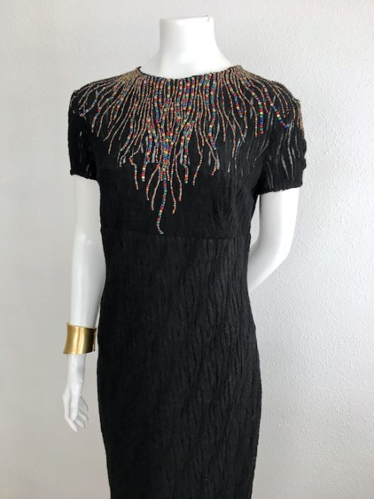 "Black Dress ""wool lace"" With Embroidered Swarovski Crystals - Unique Pieces Collection"