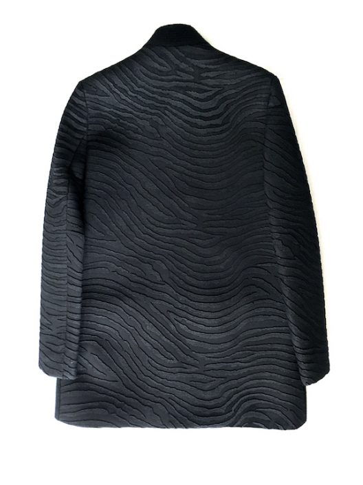 Alvarno Black Wool-Neoprene Coat With Embossed Zebra Print- Unique Pieces Collection