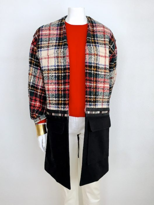 Alvarno Tartan-Wool Oversize Coat With Swarovski Crystals - Unique Pieces Collection