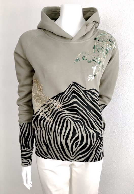 Alvarno Khaki Sweater Metallic Print and Swarovski Crystals - Unique Pieces Collection