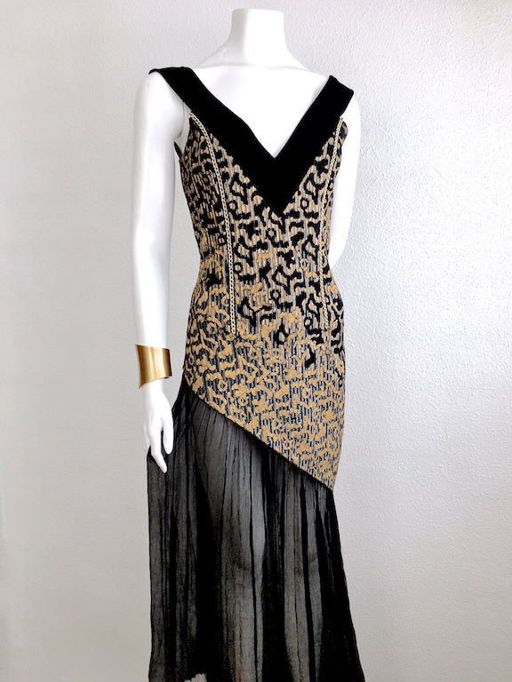 Alvarno Evening Long Dress Hand Painted Print - Unique Pieces Collection