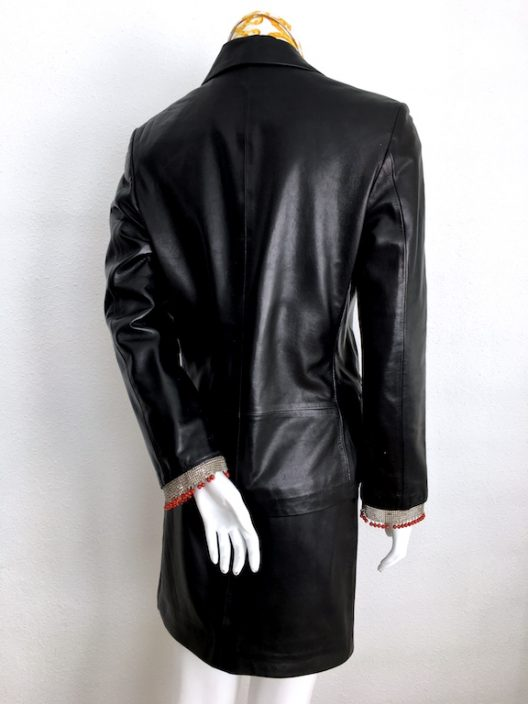 Gianni Versace Black Leather Suit - Metal and Coral Details