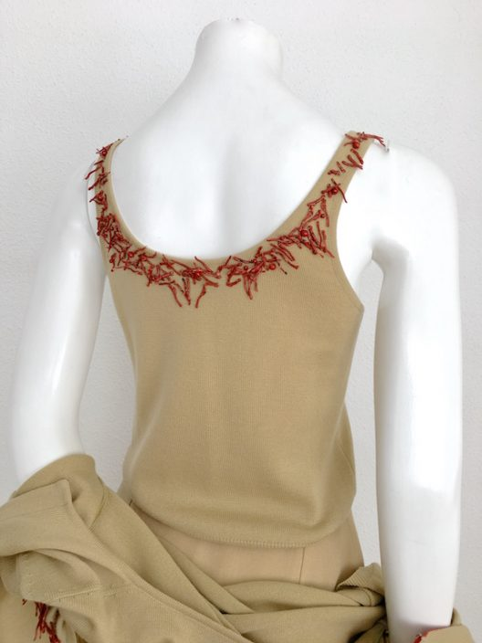 Gianni Versace VTG Set Cardigan-Top-Skirt Coral Details