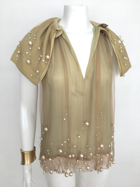 Fendi Silk Top With Rhinestones