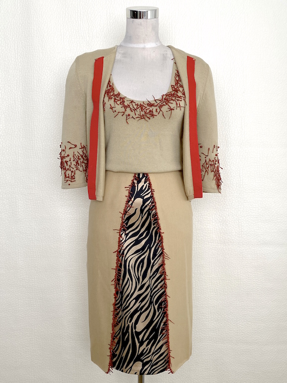 Very RARE Gianni Versace Set Cardigan-Top-Skirt Coral Details