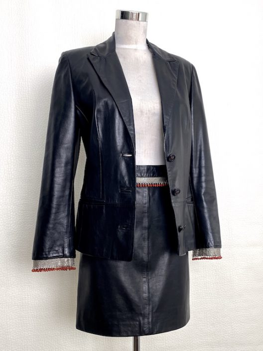Gianni Versace VTG Black Leather Suit-Metal and Coral Details