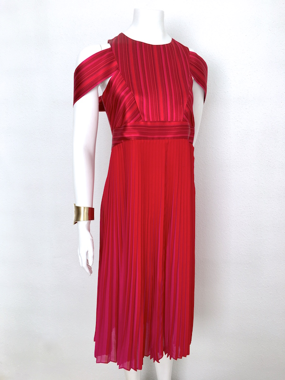 Alvarno Pleated Silk Evening Dress