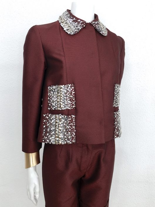 Alvarno Suit With Sequins & Swarovski Crystals Details