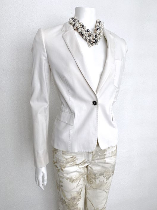 Dolce & Gabbana White Cotton Jacket-Blazer one botton