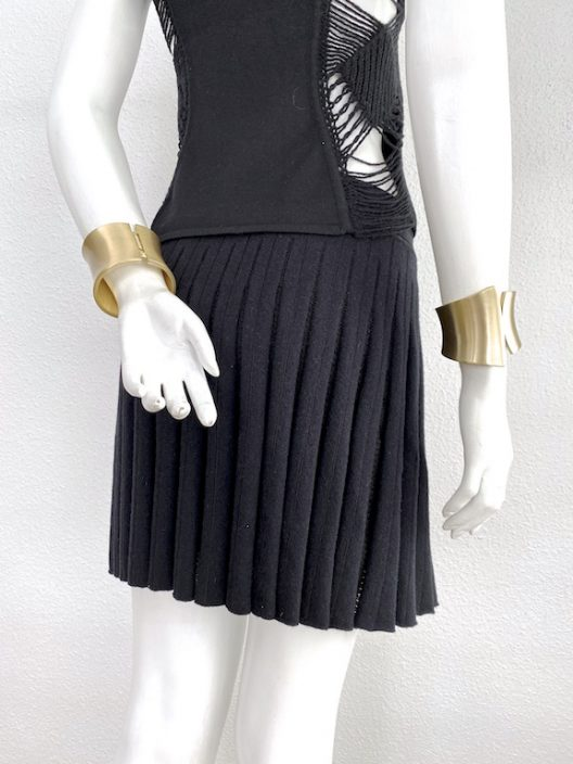 Roberto Cavalli Black Knit Pleated Miniskirt
