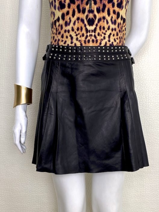 Versace Black Leather Pleated Mini Skirt Rockstud