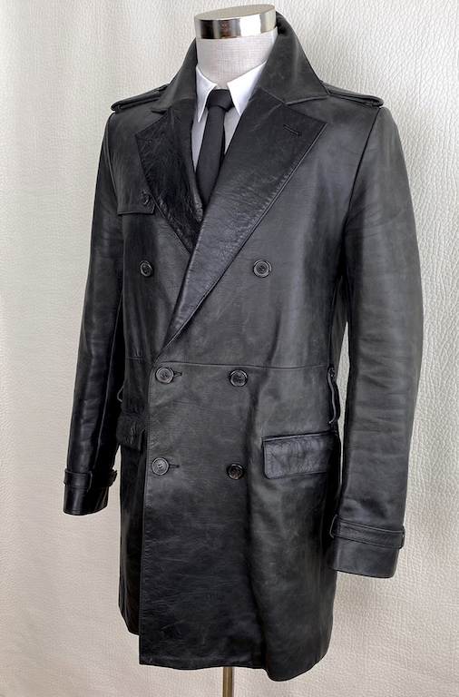 RARE DIOR HOMME FW03 By Hedi Slimane Military Style Leather Coat