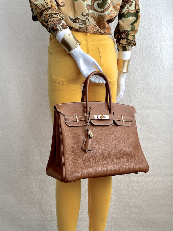 Hermès Birkin 35cm Handbag in Togo Leather-Gold Color