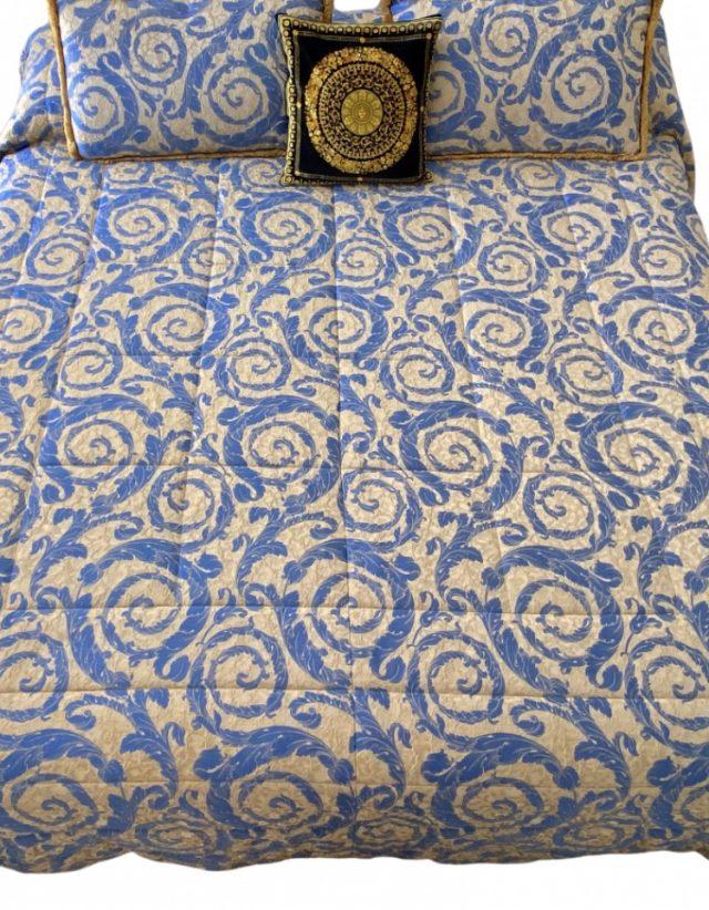 RARE Versace Home collection, silk-cotton duvet, baroque embroidery print - animal print - double view