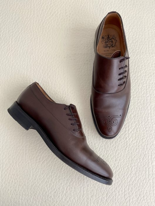 """Bow-Tie Brown Leather Lace-up Shoes """"Hand made"""""""