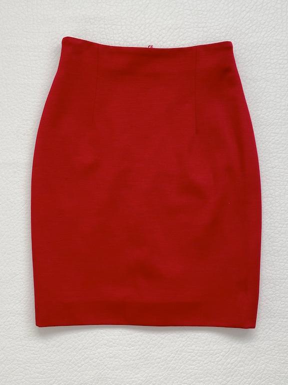 Escada Hot Red Wool Skirt