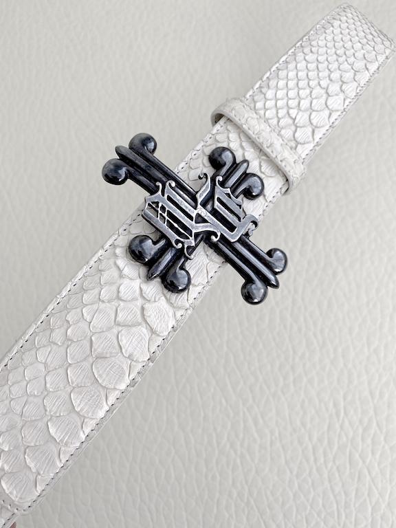 Versace white python leather belt-cross buckle